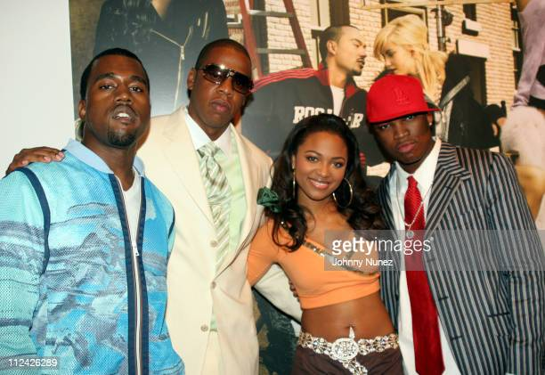 Kanye West JayZ Terria Marie and Neo during Vibe Magazine Presents RocAWear 2005 Hosted By Jay Z at The Lowe Gallery in Los Angeles California United...