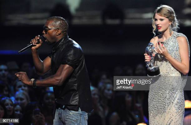 Kanye West jumps onstage after Taylor Swift won the Best Female Video award during the 2009 MTV Video Music Awards at Radio City Music Hall on...