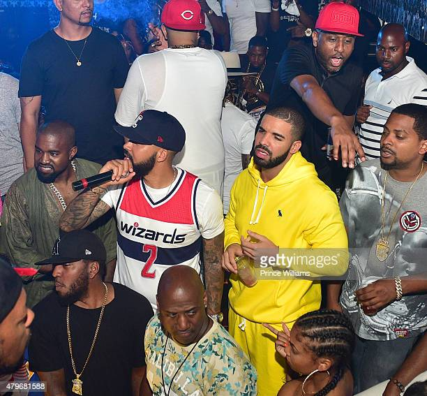 Kanye West Kenny Burns Alex Gidewon and Drake attends at Compound on June 20 2015 in Atlanta Georgia