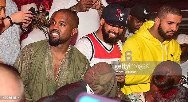 Kanye West Kenny Burns and Drake attend at Compound on June 20 2015 in Atlanta Georgia