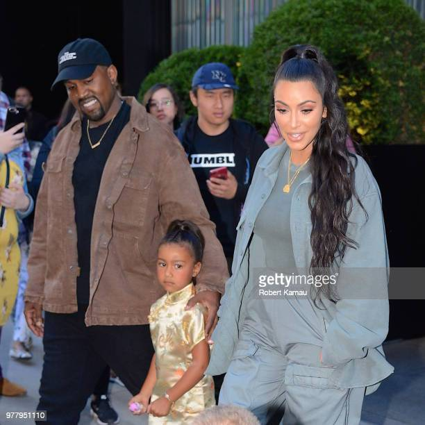 Kanye West Kim Kardashian and daughter North West seen out and about in Manhattan on June 15 2018 in New York City