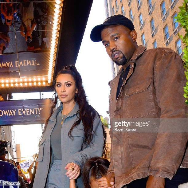 Kanye West, Kim Kardashian and daughter North West seen out and about in Manhattan on June 15, 2018 in New York City.