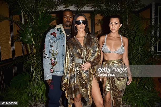 Kanye West Kim Kardashian and Kourtney Kardashian attend the Balmain aftershow party as part of the Paris Fashion Week Womenswear Spring/Summer 2017...