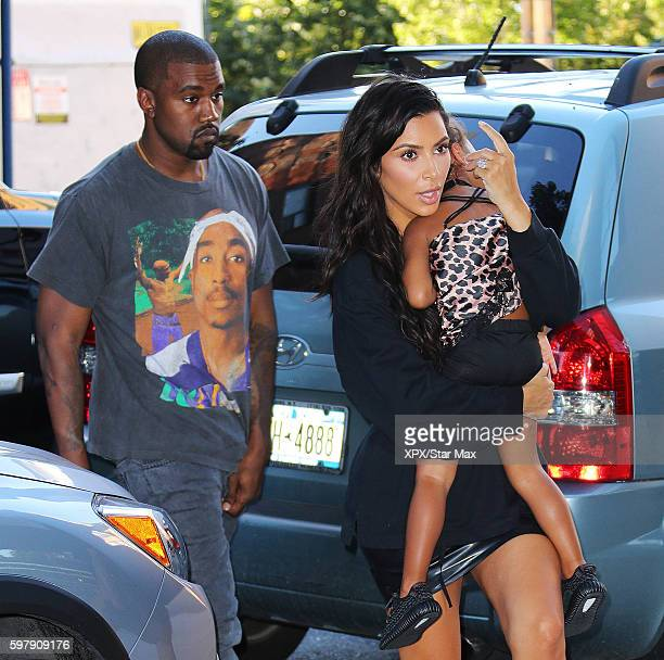 Kanye West Kim Kardashian and North West are seen on August 29 2016 in New York City