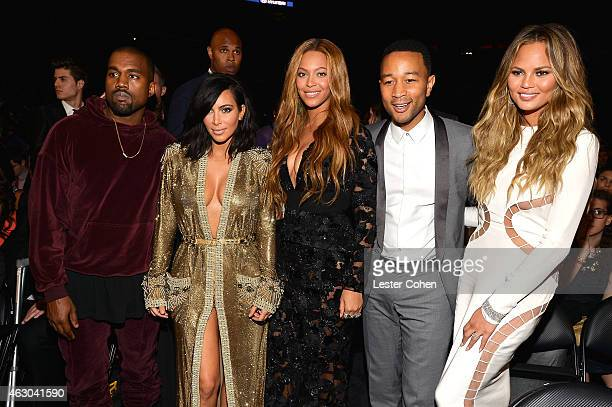 Kanye West Kim Kardashian Beyonce John Legend and Chrissy Teigen onstage during The 57th Annual GRAMMY Awards at the STAPLES Center on February 8...