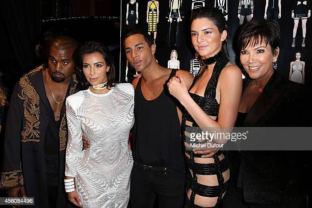 Kanye West, Kim Kardashian, Designer Olivier Rousteing, Kendall Jenner and Kris Jenner pose in Backstage after the Balmain show as part of the Paris...