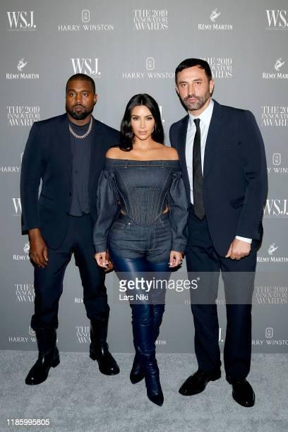 Kanye West Kim Kardashian West and Riccardo Tisci attend the WSJ Magazine 2019 Innovator Awards sponsored by Harry Winston and Rémy Martinat MOMA on...
