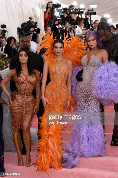 Kanye West Kim Kardashian West Kendall Jenner Kylie Jenner and Travis Scott attend The 2019 Met Gala Celebrating Camp Notes on Fashion at...