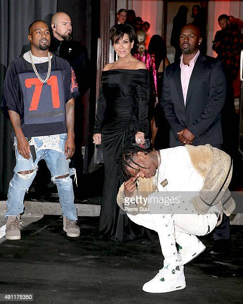Kanye West Kris Jenner Corey Gamble and Travis Scott arrive at Vogue 95th Anniversary Party as part of the Paris Fashion Week Womenswear...