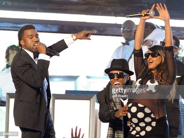 Kanye West Lill Wayne and MIA perform onstage at the 51st Annual GRAMMY Awards held at the Staples Center on February 8 2009 in Los Angeles California