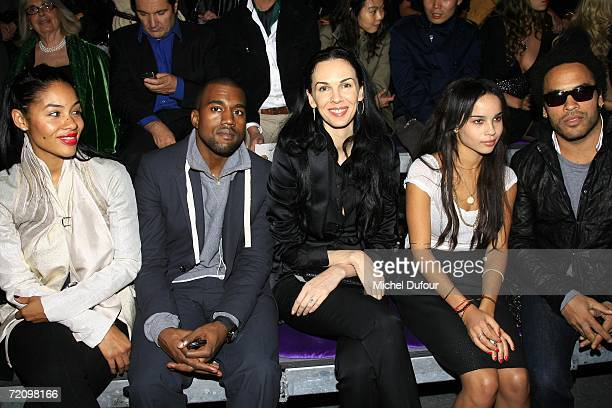 Kanye West , L'Wren Scott , and Lenny Kravitz attend the Yves Saint Laurent Fashion Show, the part of Paris Fashion Week Spring/Summer 2007, on...