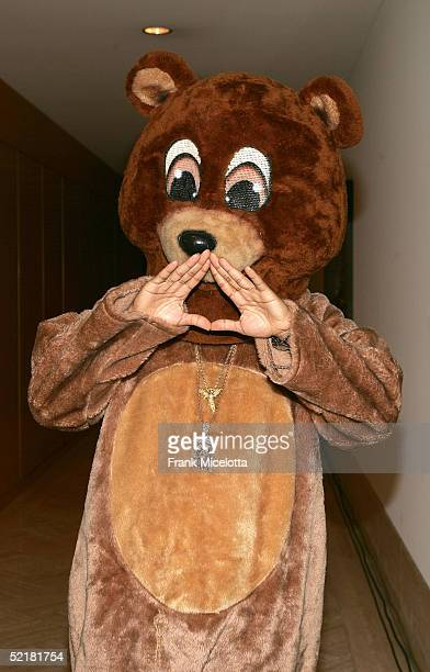 Kanye West mascot Dropout Bear at the Kanye West and Creative Artist Agency Foundation launch of the Kanye West Foundation for music education in the...