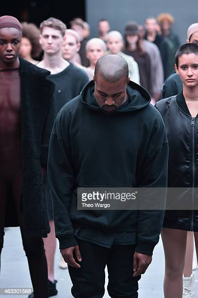 Kanye West on the runway at the adidas Originals x Kanye West YEEZY SEASON 1 fashion show during New York Fashion Week Fall 2015 at Skylight Clarkson...