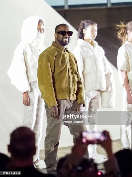 Kanye West on the runway of the Yeezy fashion show during Paris Fashion Week Womenswear Fall/Winter 2020/2021 on March 02 2020 in Paris France
