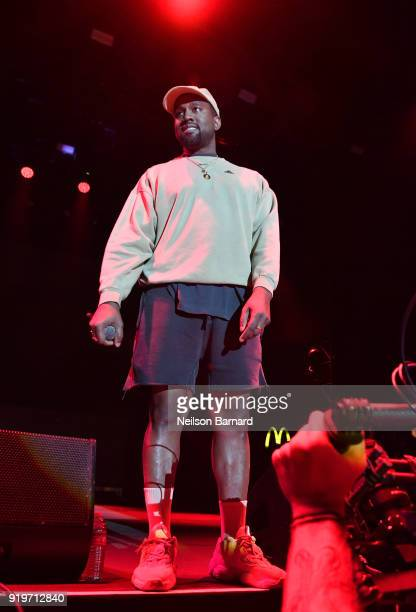 Kanye West onstage at adidas Creates 747 Warehouse St an event in basketball culture on February 17 2018 in Los Angeles California