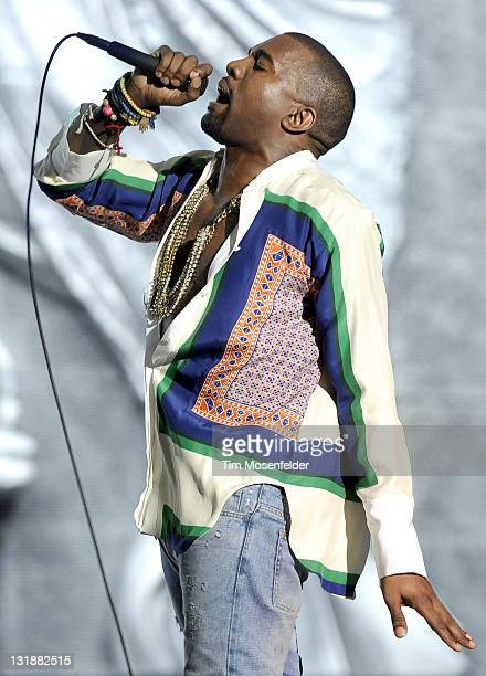 Kanye West performs as part of the 2011 Coachella Valley Music & Arts Festival at the Empire Polo Field on April 17, 2011 in Indio, California.