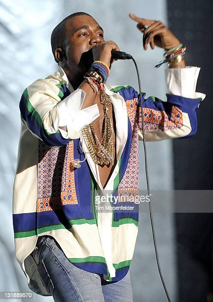 Kanye West performs as part of the 2011 Coachella Valley Music Arts Festival at the Empire Polo Field on April 17 2011 in Indio California