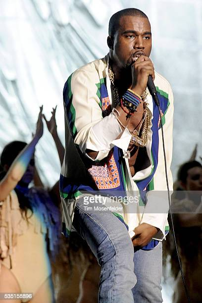 Kanye West performs as part of the 2011 Coachella Valley Music Arts Festival at the Empire Polo Fields in Indio California
