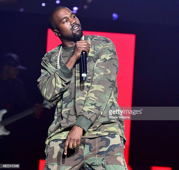 Kanye West performs at Jeezy Presents TM101 10 Year Anniversary Concert at The Fox Theatre on July 25 2015 in Atlanta Georgia
