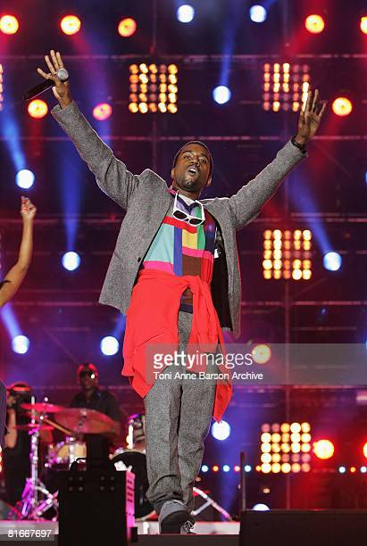 Kanye West performs at the France 2 Television's 'Fete de la Musique' at the Auteuil Horse track on June 21 2008 in Paris France