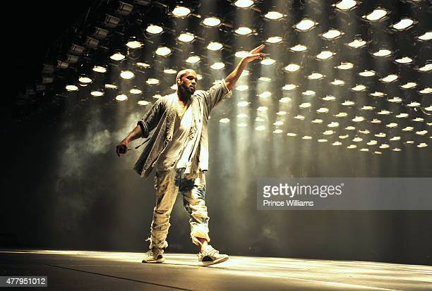 Kanye West performs at the Hot 1079 Birthday Bash Block Show at Philips Arena on June 20 2015 in Atlanta Georgia