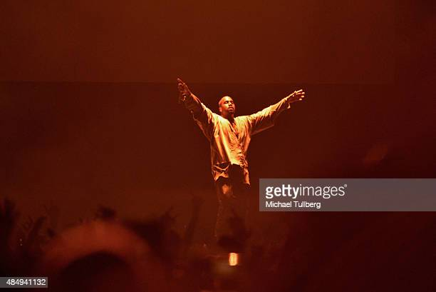 Kanye West performs during Day 1 of FYF Fest 2015 at LA Sports Arena Exposition Park on August 22 2015 in Los Angeles California