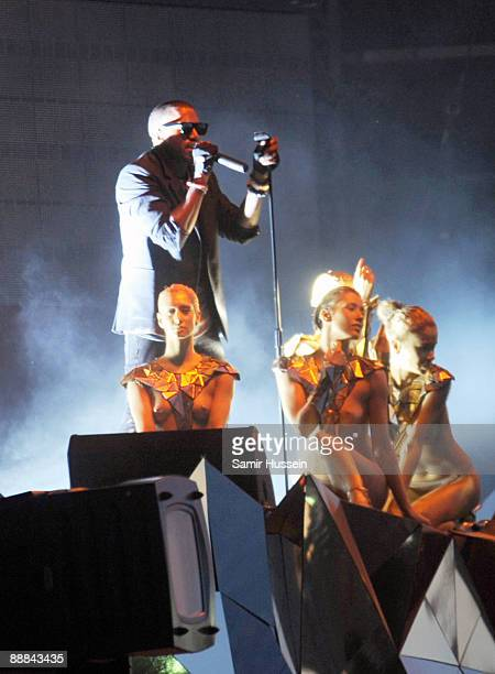 Kanye West performs during day 2 of the Wireless Festival in Hyde Park on July 5 2009 in London England