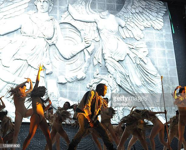 Kanye West performs during day 3 of the 2011 Coachella Music Festival at The Empire Polo Club on April 17 2011 in Indio California