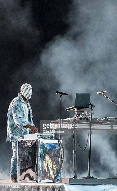 Kanye West performs headlining on stage at the Wireless Festival Birmingham at Perry Park on July 6 2014 in Birmingham United Kingdom