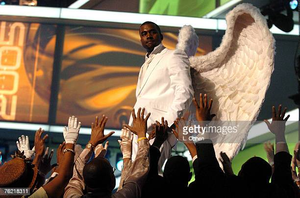 Kanye West performs Jesus Walks Photo by Lester Cohen/WireImage for The Recording Academy