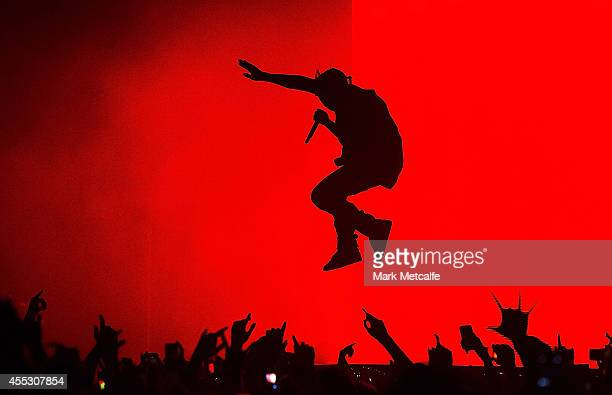 Kanye West performs live for fans at Qantas Credit Union Arena on September 12 2014 in Sydney Australia