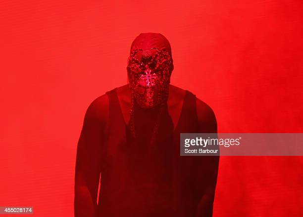 Kanye West performs live for fans at Rod Laver Arena on September 9 2014 in Melbourne Australia
