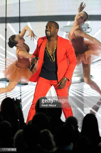 Kanye West performs on stage at the 2010 MTV Video Music Awards held at Nokia Theatre LA Live on September 12 2010 in Los Angeles California