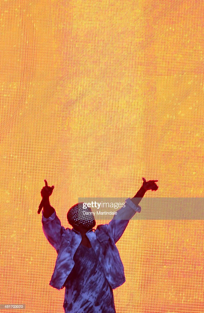 Kanye West performs on stage at Wireless Festival at Finsbury Park on July 4, 2014 in London, United Kingdom.