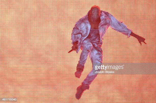 Kanye West performs on stage at Wireless Festival at Finsbury Park on July 4 2014 in London United Kingdom