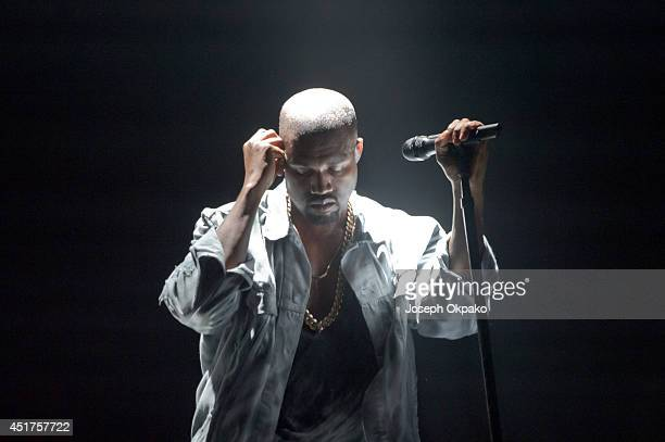 Kanye West performs on stage at Wireless Festival at Finsbury Park on July 5 2014 in London United Kingdom