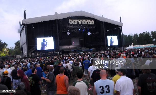 Kanye West performs on stage during Bonnaroo 2008 on June 14 2008 in Manchester Tennessee