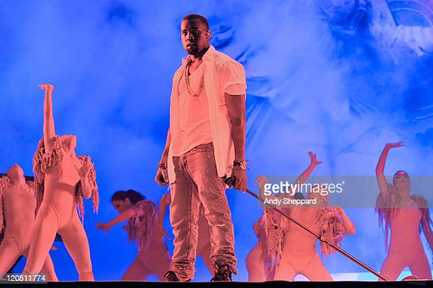 Kanye West performs on stage during The Big Chill Festival 2011 at Eastnor Castle Deer Park on August 6 2011 in Ledbury United Kingdom