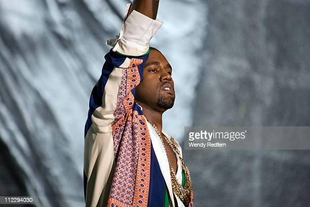 Kanye West performs on stage during the third day of Coachella Valley Music Festival on April 17 2011 in Coachella United States