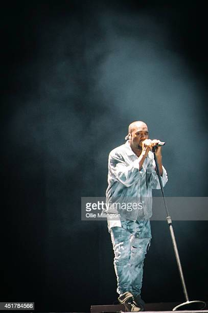 Kanye West performs on stage headlining at the Wireless Festival Birmingham at Perry Park on July 6 2014 in Birmingham United Kingdom
