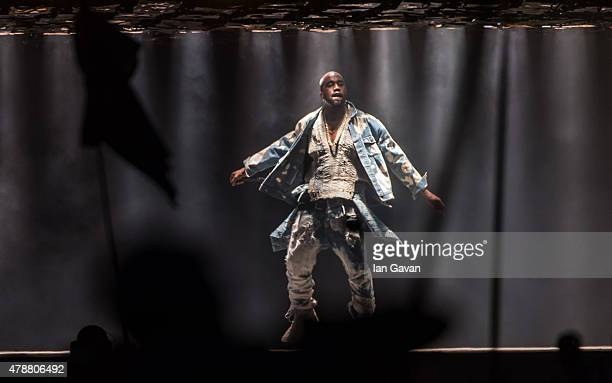 Kanye West performs on The Pyramid Stage during the Glastonbury Festival at Worthy Farm Pilton on June 27 2015 in Glastonbury England Now its 45th...