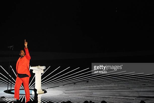 Kanye West performs onstage at the 2010 MTV Video Music Awards held at Nokia Theatre LA Live on September 12 2010 in Los Angeles California