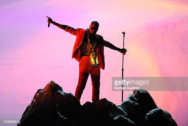 Kanye West performs onstage during the 2010 BET Awards held at the Shrine Auditorium on June 27, 2010 in Los Angeles, California.