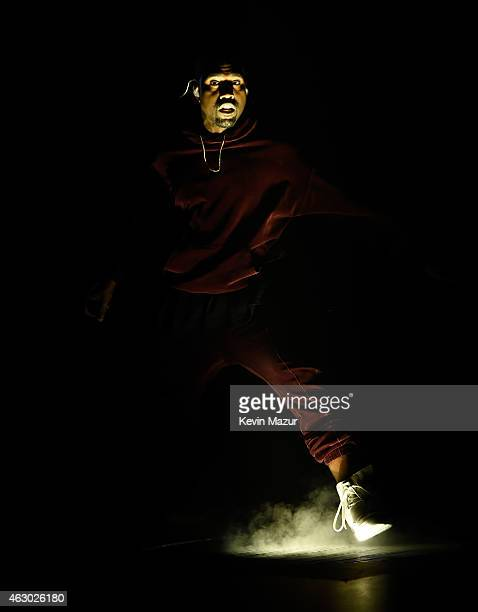 Kanye West performs onstage during The 57th Annual GRAMMY Awards at the STAPLES Center on February 8 2015 in Los Angeles California