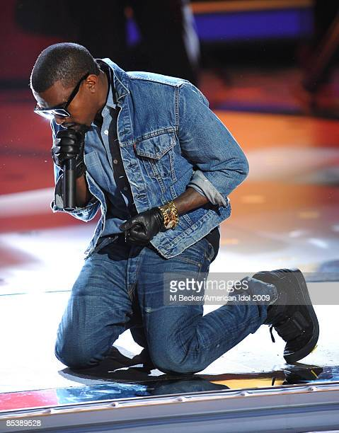 ACCESS*** Kanye West performs onstage during the live elimination show of American Idol March 11 2009 in Los Angeles California The first two...