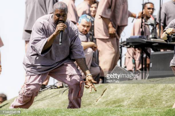 Kanye West performs Sunday Service during the 2019 Coachella Valley Music And Arts Festival on April 21 2019 in Indio California