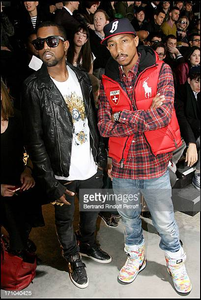 Kanye West Pharell Williams at The Lanvin Menswear Fashion Show Introducing The Autumn Winter 20102011 Collection In Paris