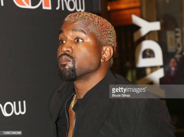 Kanye West poses at the opening night of the new musical 'The Cher Show' on Broadway at The Neil Simon Theatre on December 3 2018 in New York City