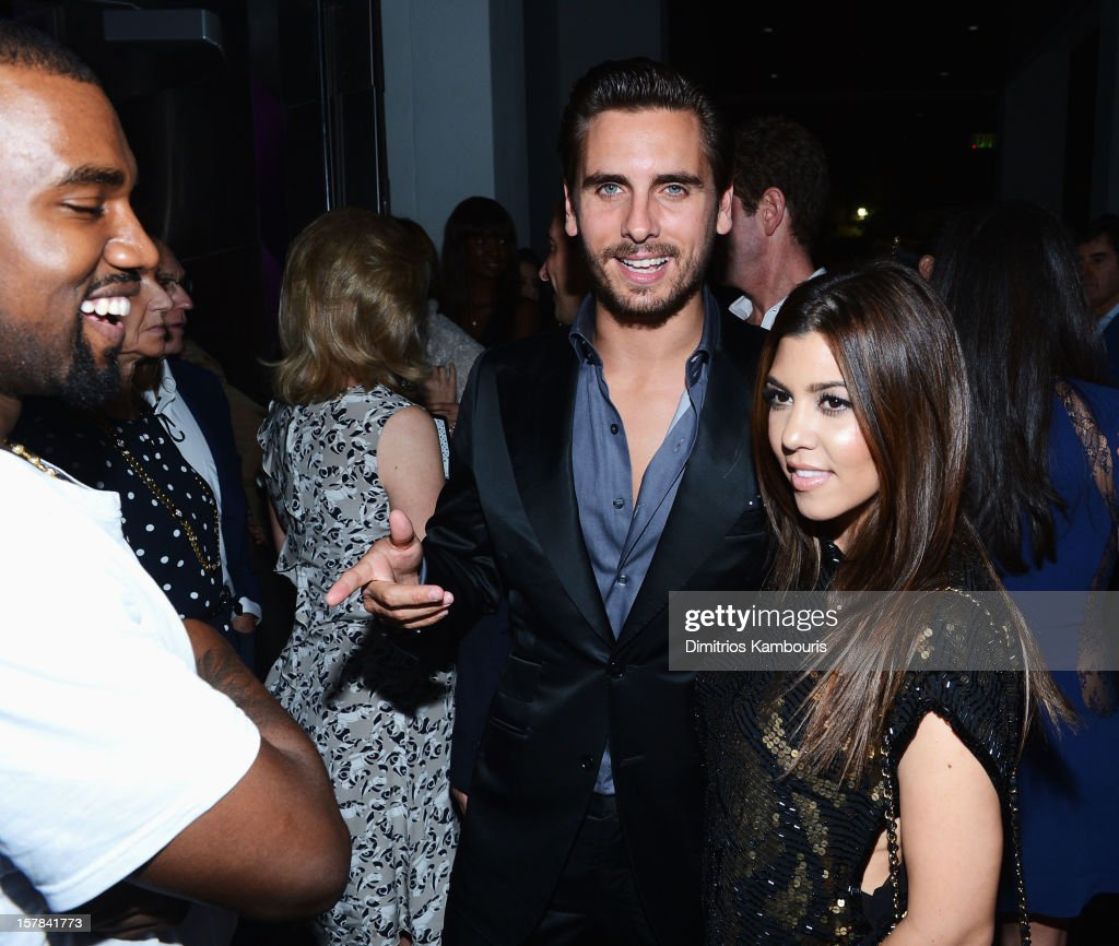Kanye West, Scott Disick and Kourtney Kardashian attend the celebration of Dom Perignon Luminous Rose at Wall at W Hotel on December 6, 2012 in Miami Beach, Florida.