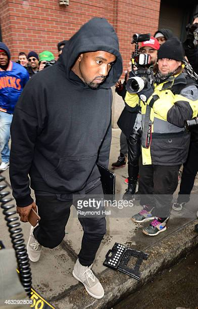 Kanye West seen leaving his apartment on February 12 2015 in New York City
